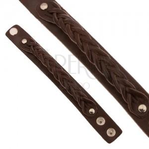 Csokoládébarna bőr karkötő, hármasfonattal fonott sáv
