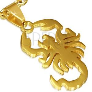Acél medál, fényes arany színű skorpió