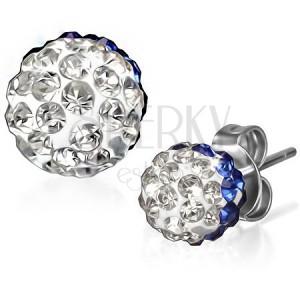 Csillogó acél fülbevaló - kék-átlátszó cirkóniás golyók