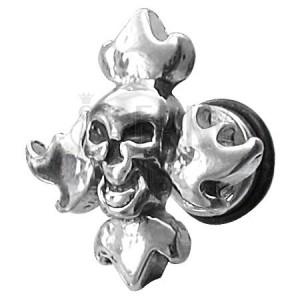 Hamis fültágító - mosolygós koponya és láng mintázatok