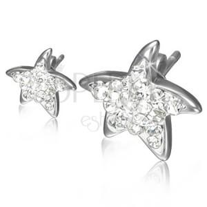 Bedugós acél fülbevaló - átlátszó cirkóniás csillag