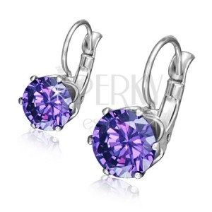 Acél fülbevaló - kerek lila cirkónia a foglalatban