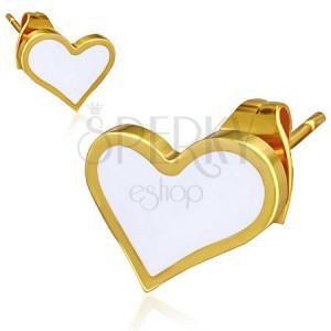 Arany színű acél fülbevaló - fehér asszimetrikus szív