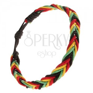 Sárga, zöld, piros és fekete színű zsinóros karkötő