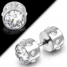 Hamis acél piercing, kétoldalú, csiszolt átlátszó cirkóniákkal