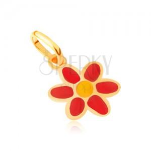 Arany medál - fényes lapos piros-sárga fénymázas virág
