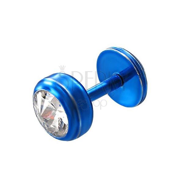 Áll piercing acélból kék színben - kerek átlátszó cirkónia