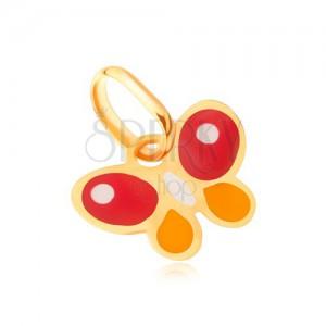 Fényes arany medál - lapos többszínű fénymázas lepke