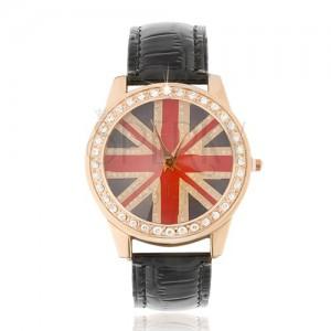 Karóra acélból - britt zászló, átlátszó cirkóniák, fekete szíj