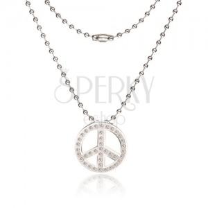Nyaklánc sebészeti acélból - katonai lánc, béke jel