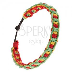 Zsinóros karkötő, vízszintes és függőleges piros, sárga és zöld vonalak