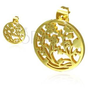 Arany színű acél fülbevaló, kivágott kör, szőlővirág