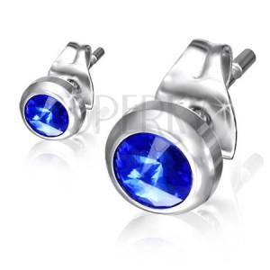 Beszúrós acél fülbevaló - kék csillogó kő a fényes foglalatban