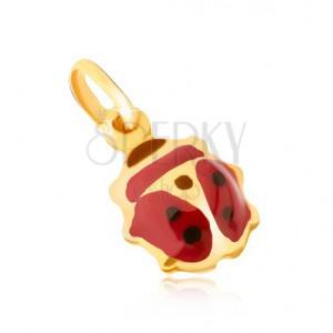 Medál 9K sárga aranyból - kidomborodó fénymázas piros-fekete katica