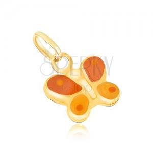 Arany medál - háromdimenziós narancs-sárga lepke, fényes máz