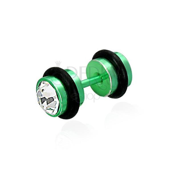 Hamis piercing zöld színben - csiszolt átlátszó cirkóniák, fekete gumigyűrűk