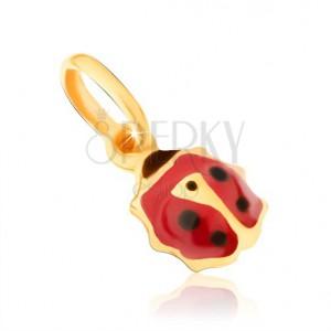 Arany medál - kis piros-fekete fénymázas katicabogár alakban