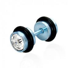 Hamis piercing kék színű kivitelben - átlátszó csiszolt cirkóniák, fekete gumigyűrűk