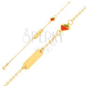 Arany karkötő - lánc fényes táblával, eper medál fénymázzal