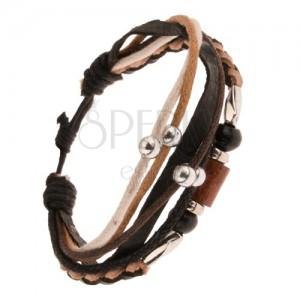 Multikarkötő - barna-fekete bőrfonat, fa és fém hengerek, zsinórok