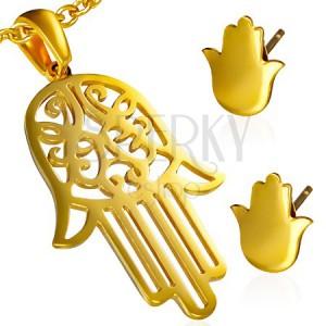 Arany színű acél szett - medál és fülbevaló, filigrán Fatima keze