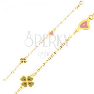 Karkötő 9K sárga aranyból - csillogó lánc, négy levél és szív medál