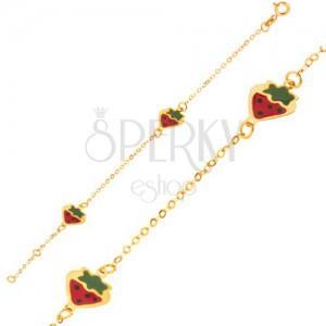 Arany karkötő - csillogó lánc fénymázas színes eprecskékkel