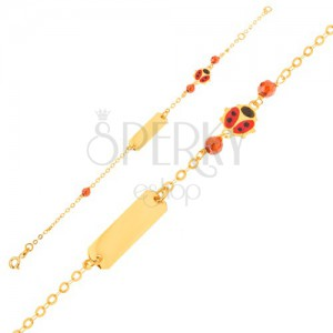 Arany karkötő - lánc, lemez, piros-fekete katica, barna gyöngy