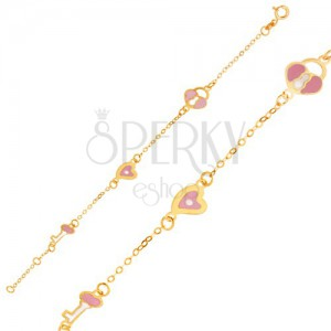 Karkötő 9K sárga aranyból - fényes lánc, lakat medálok, szív és kulcs
