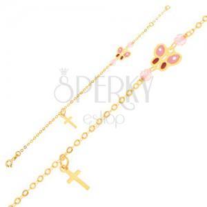 Arany karkötő - csillogó lánc, kereszt, fénymázas lepke, gyöngyök