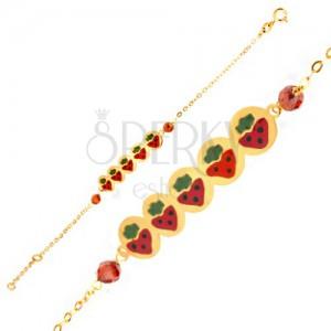 Karkötő 9K sárga aranyból - hosszúkás tábla eprekkel, gyöngyök, lánc
