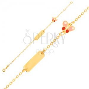 Arany karkötő - csillogó lánc, hosszúkás lemez, lepke, fénymáz