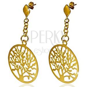 Acél fülbevaló arany színben, fa alakra kivágott körök, lánc