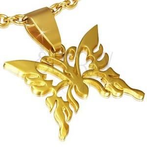 Arany színű medál, fényes kivágott lepke