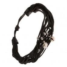 Multikarkötő antracit zsinórokból, fényes gyöngyök és csörgők
