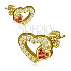 Arany színű acél fülbevaló, két szív, piros és átlátszó kövek