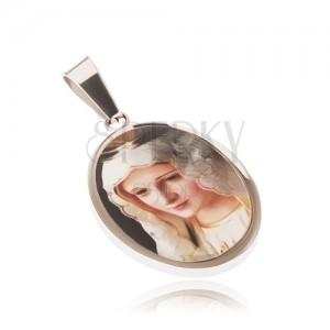 Ovális acél medál, Madonna kép fénymázas bevonattal