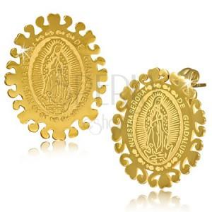 Ovális arany színű acél fülbevaló, Szűz Mária mennybemenetele