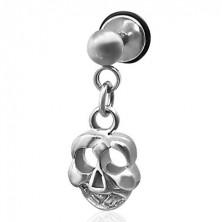 Hamis piercing - függő koponya medál