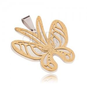 Arany-ezüst színű acél medál, pillangó szemcsés felszínnel
