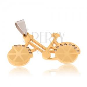 Medál sebészeti acélból - bicikli rany színben, átlátszó cirkóniák