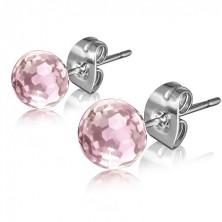 Oceľové puzetové náušnice, okrúhly ružový kamienok