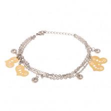 Náramok na ruku z ocele - trojitá retiazka, ploché zlaté srdiečka, zirkóny