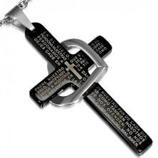 Oceľový prívesok - čierny kríž s modlitbou, kontúra srdca