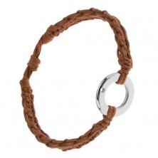 Náramok z orieškovohnedých šnúrok, prstenec striebornej farby