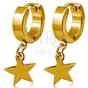 Arany színű acél fülbevaló, körök és függő csillag