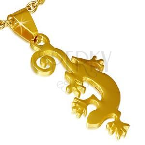 Medál sebészeti acélból arany színben, gyíkocska