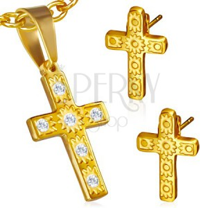 Arany színű acél szett - medál és fülbevaló, kereszt, átlátszó kövek