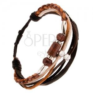 Multikarkötő - barna bőrfonat, zsinórok, gyöngyök és hengerek