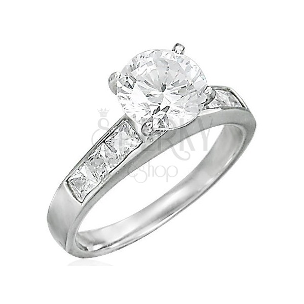 Kísérő gyűrű kiálló cirkónia kővel